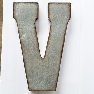"""""""V"""" Rustic Industrial Galvanized metal letter V"""